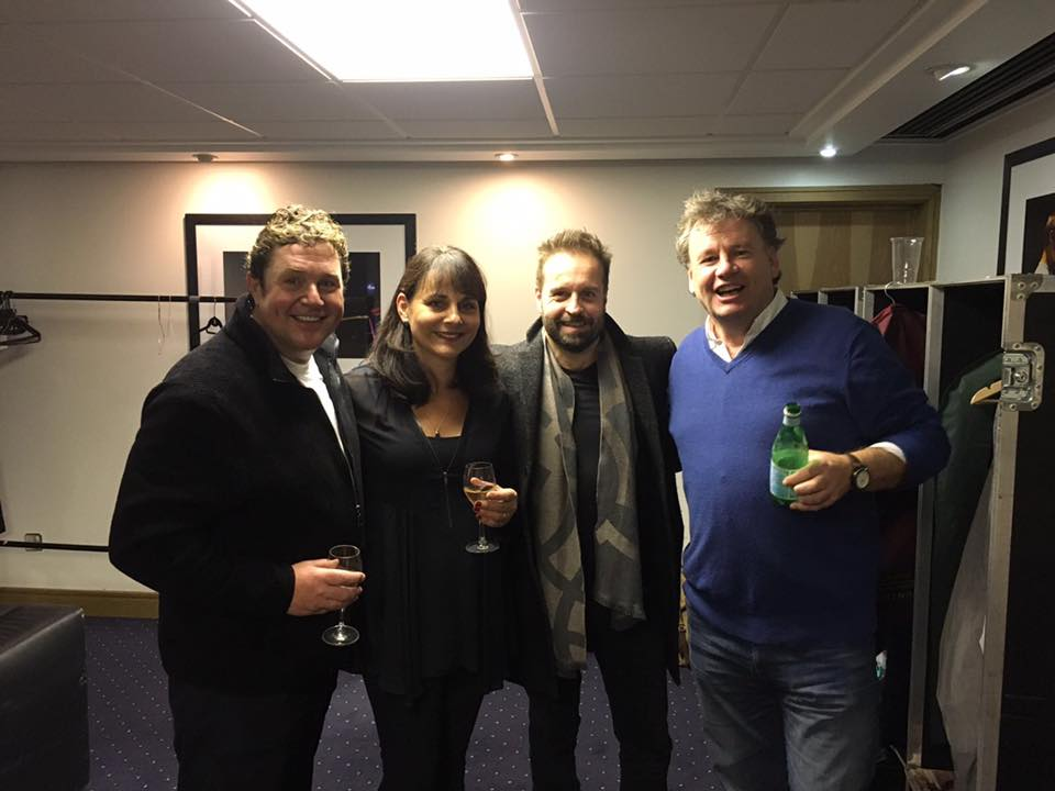 PP250 prize draw winner Julian Chenery, with Michael Ball & Alfie Boe